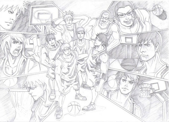 Basketball Team Sketch Drawing
