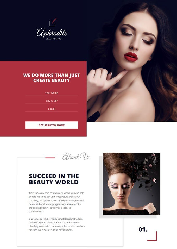 Beauty School Landing Page Template