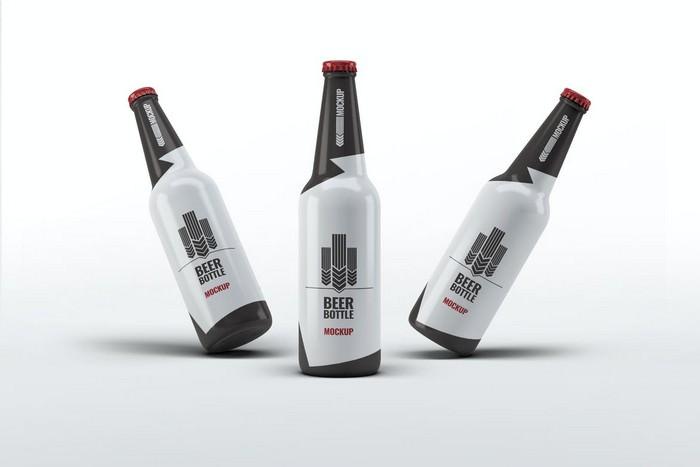 Three Beer Bottle Mock-Up PSD