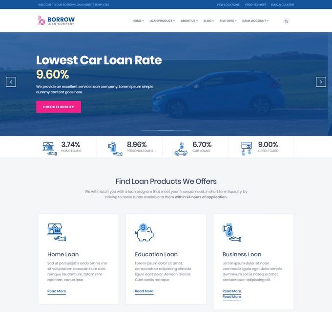 Borrow - Mortgage Loan Company Responsive Website Templates