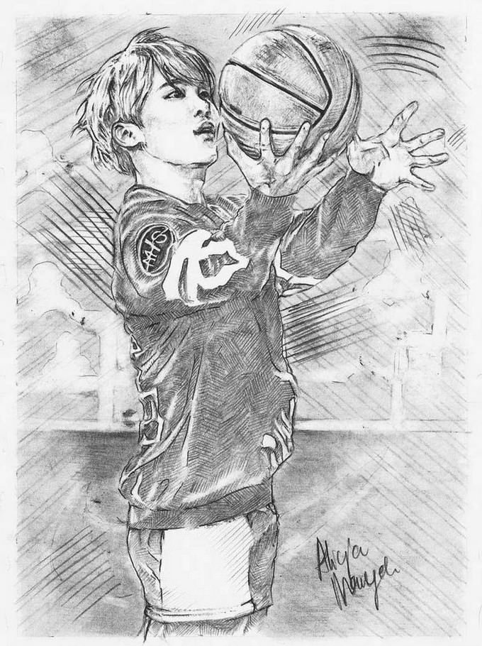 Boy Basketball Drawing