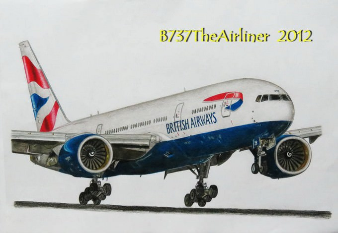British Airways Boeing 777 Drawing