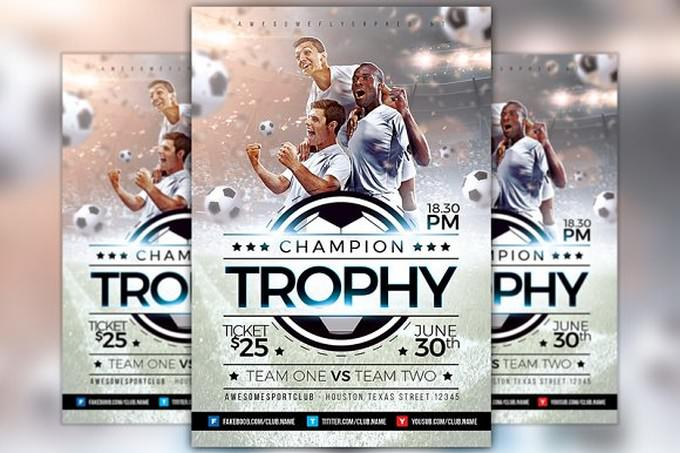 Champion Trophy Soccer Sports Flyer
