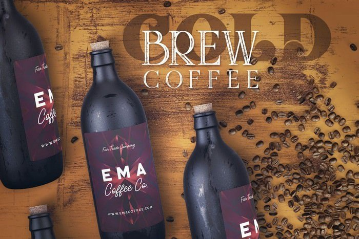 Cold Brew Coffee Bottle Mock-up 1