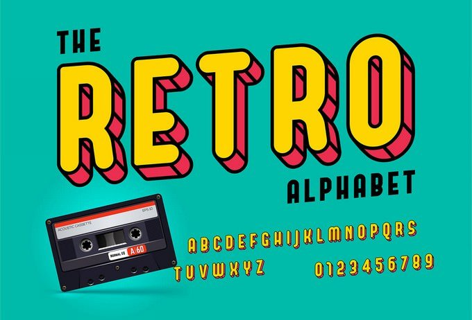 Colorful Retro Font And Alphabet