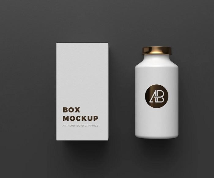 Copper Foil Bottle Packaging Mockup