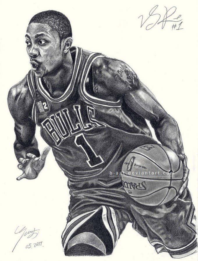 Derrick Rose Basketball Drawing