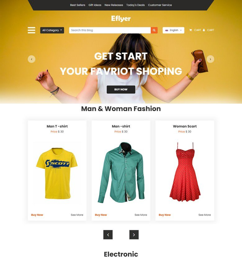 Eflyer - Free Bootstrap 4 HTML5 Ecommerce Website Template