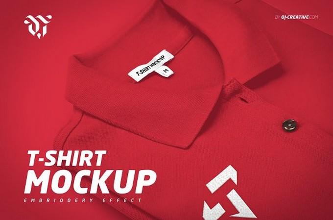 Embroidered Polo T-Shirt Mockup
