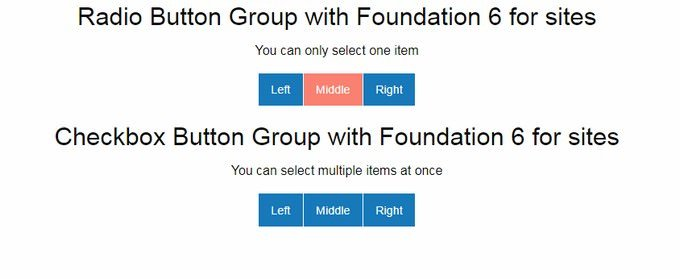 Foundation 6 Radio and Checkbox Button Group with pure CSS