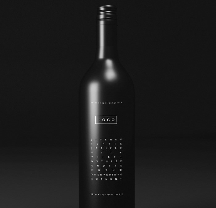 Free Black Wine Bottle Mockup