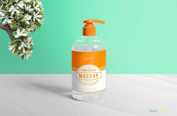 Free Dispenser Pump Bottle Mockup