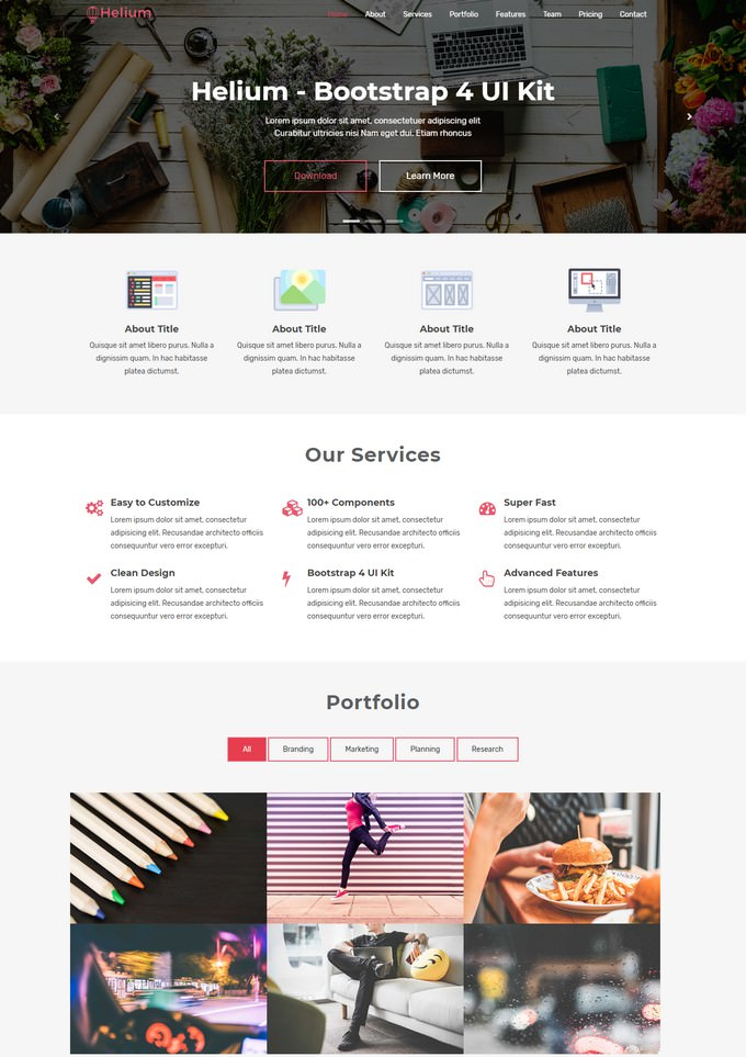 Helium One Page HTML Template
