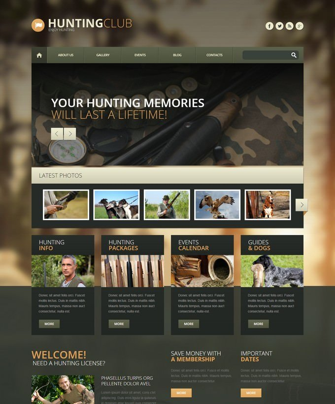 Hunting Club Responsive WordPress Theme