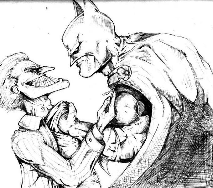 Joker And Batman Pencils Drawing
