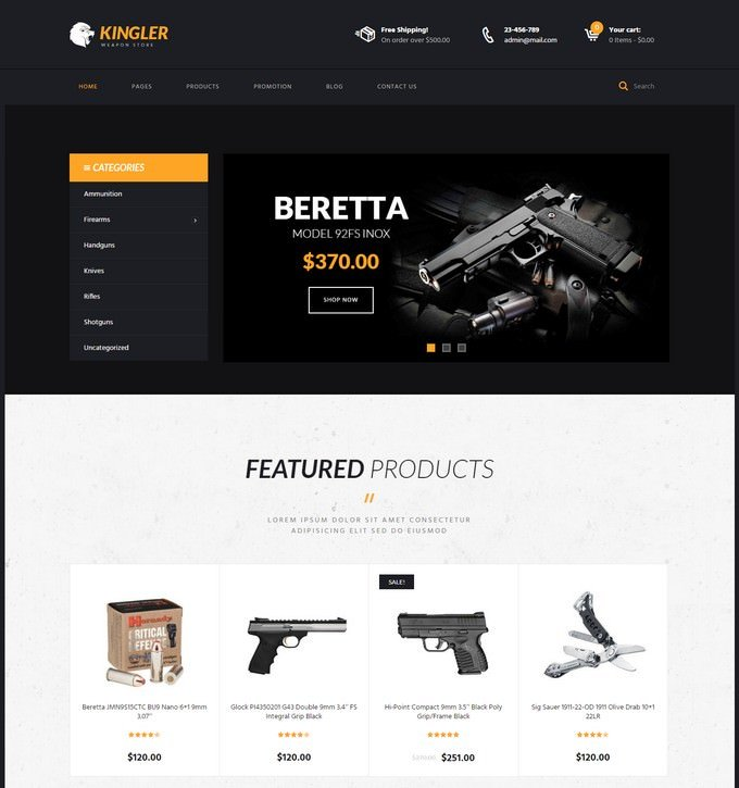 Kingler Weapon Store & Gun Training WordPress Theme