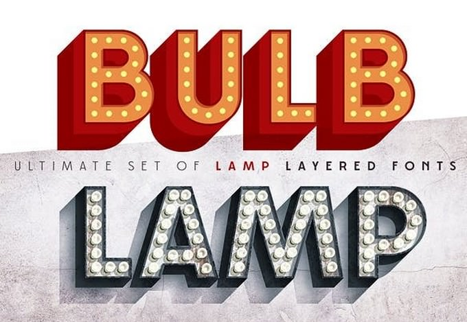 Layered Font System of 3D Bulb Lamp Alphabet