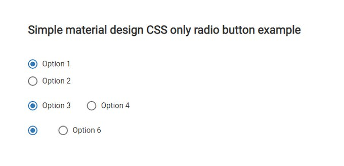 Material Design Radio Button CSS only