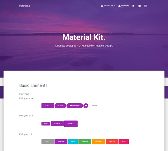 Material Free Bootstrap 4 UI KIT