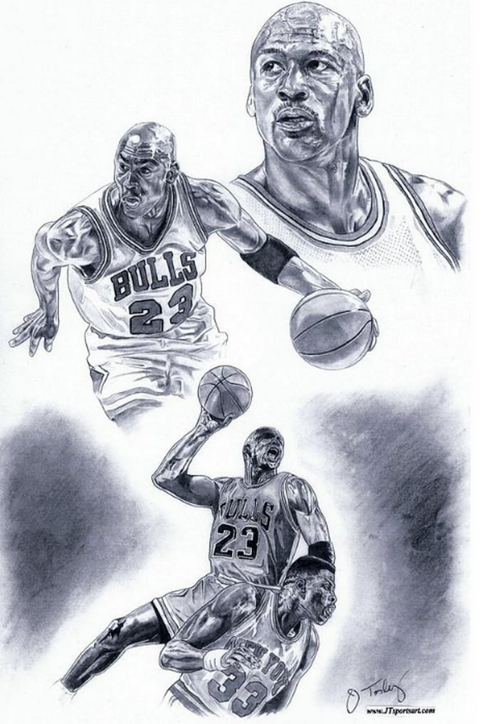 Michael Jordan Basketball Drawing