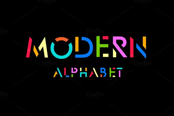 Modern Stylized Font And Alphabet