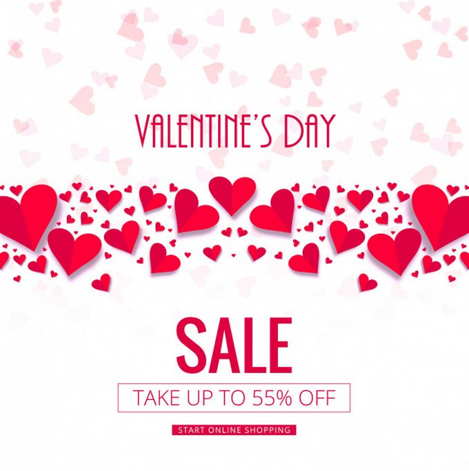 Modern Valentine's Day Sale Background Vector