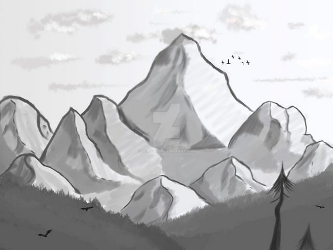 Mountain look Drawing
