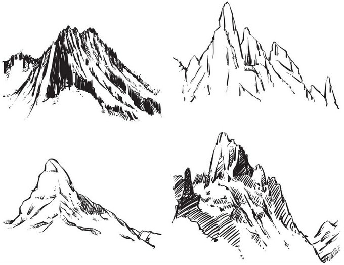 Mountains Drawing Stone