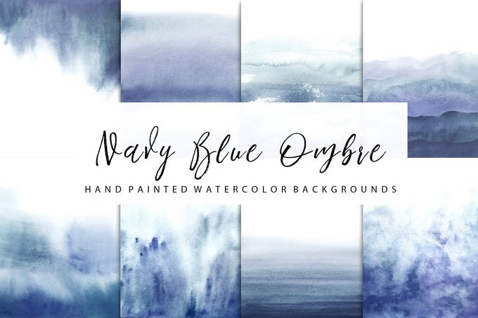 Navy Blue ombre Watercolor
