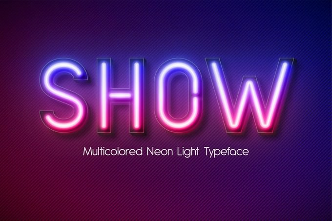 Neon Light Alphabet Multicolored