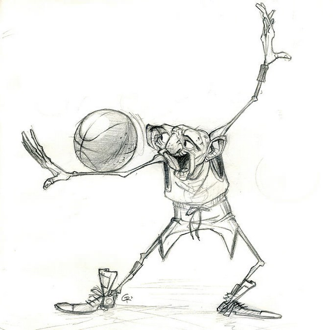 Old Man Basketball Drawing