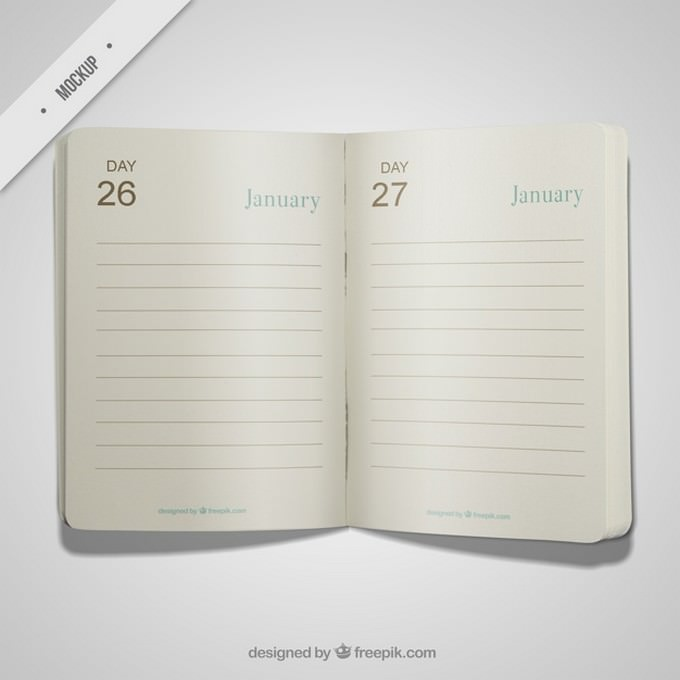 Open diary mockup Free Psd