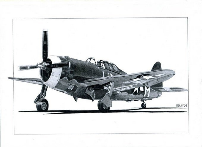 P-47 Airplane Drawing