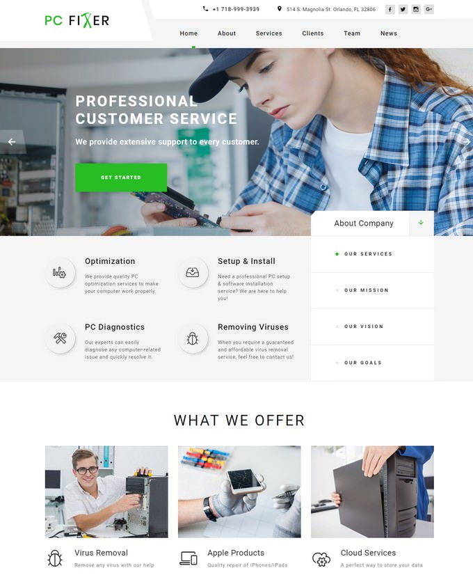 PC Fixer - Computer Repair Services HTML Landing Page Template