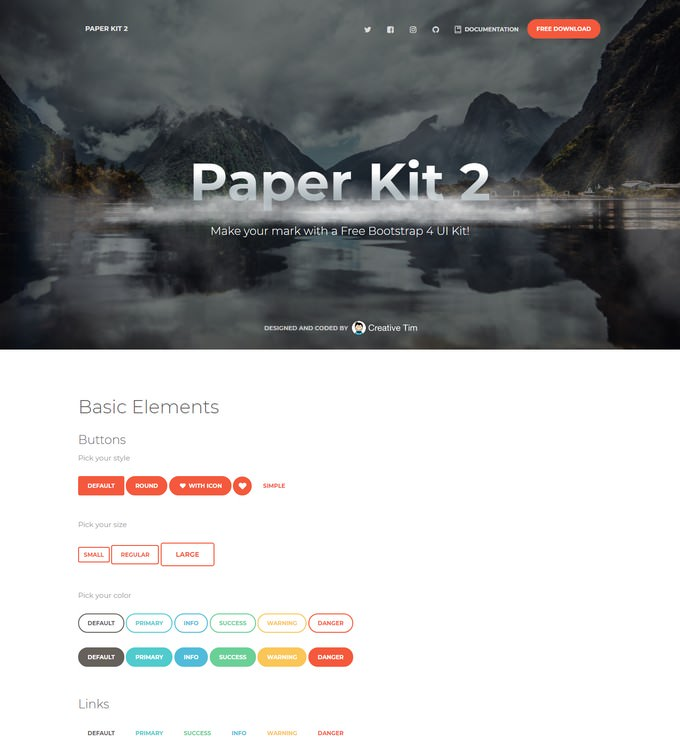 Paper Kit 2 Free Bootstrap 4 UI Kit