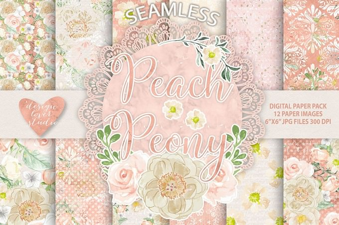 Peach Peony Digital Paper Pack