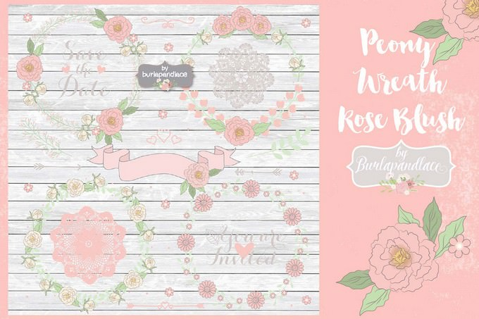 Peony Wreath Rose Blush Vector