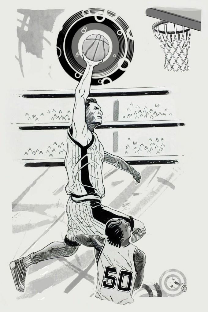 Posterized Basketball Drawing