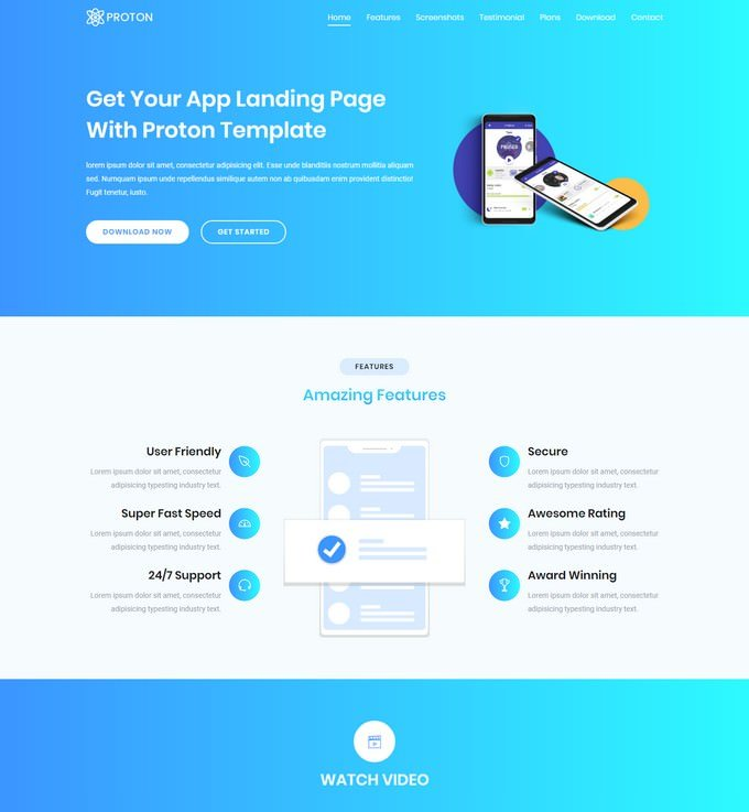 Proton Lite One Page HTML Template