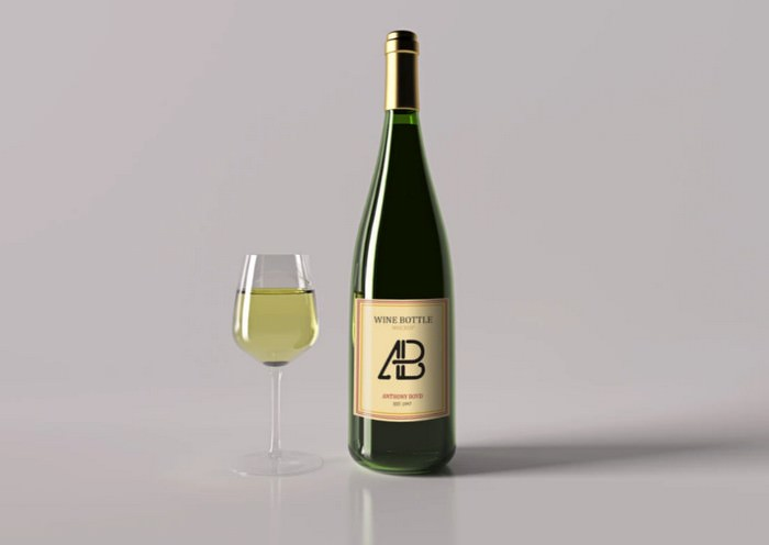 Realistic Wine Bottle Mockup Vol.2