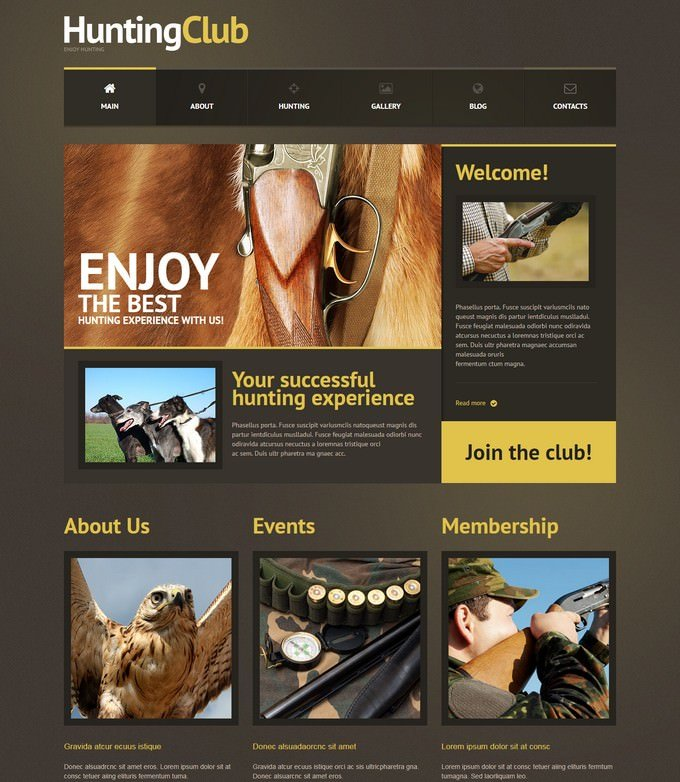 Responsive Hunting Club WordPress Theme