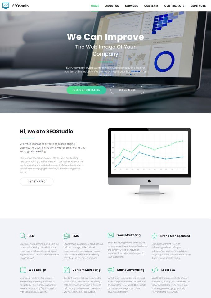 SEO Studio - Consulting HTML with Novi Builder Landing Page Template