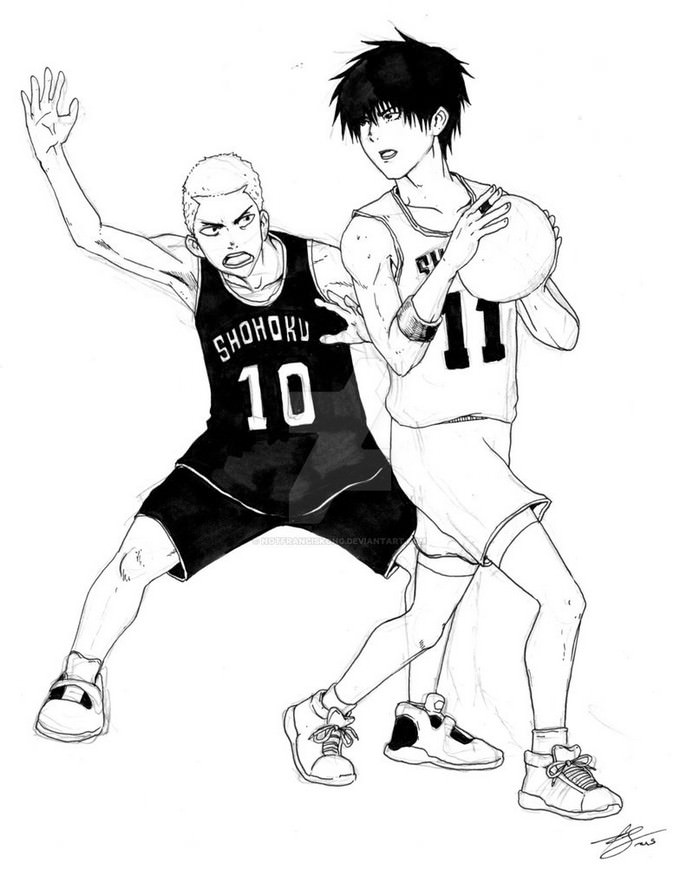 Sakuragi VS Rukawa Basketball Drawing
