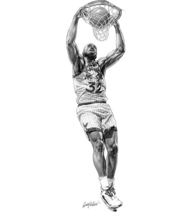 Shaq Slam Basketball Drawing