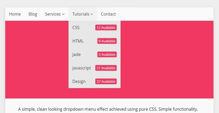 Simple Pure CSS Dropdown Menu