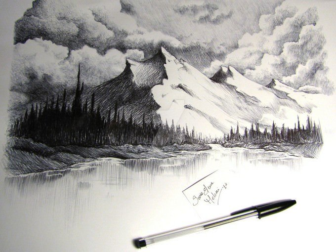 Snow Capped Mountains Drawing