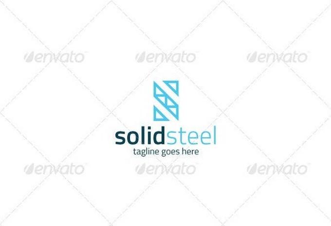 Solid Steel Logo Letter S