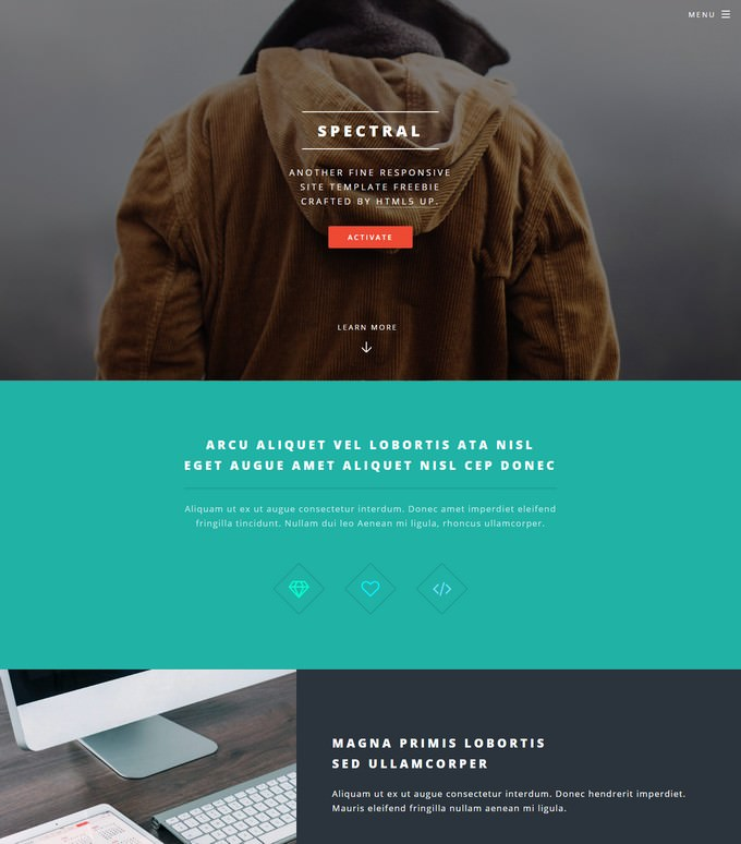 Spectral One Page HTML Template