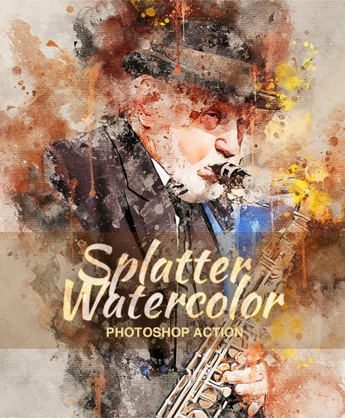 Splatter Watercolor Photoshop Action