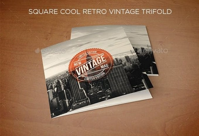 Square Cool Retro Vintage Trifold
